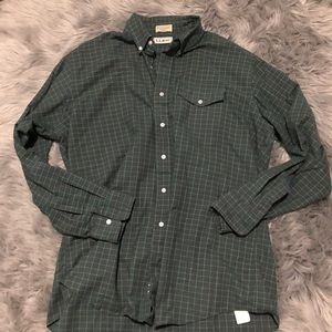 Vintage l l bean made in USA green button down
